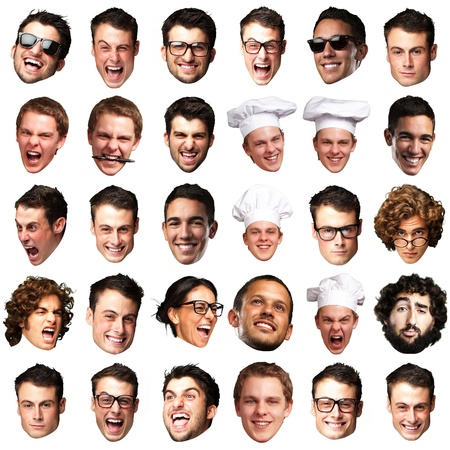 silly face: big collection of person faces over white background
