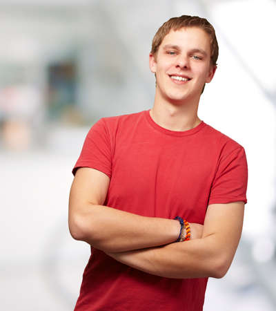 portrait of young man smiling indoor Stock Photo - 14252100