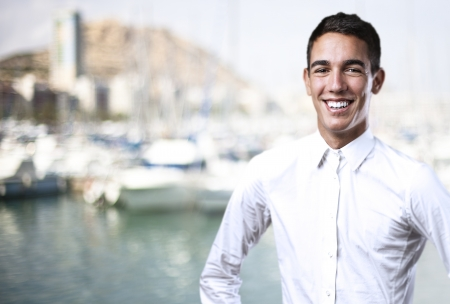 portrait of handsome young man with a city as a background Stock Photo - 14438861