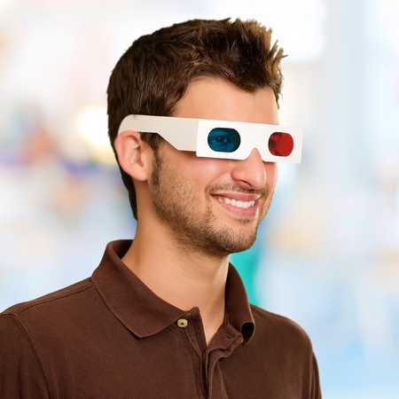 Man Watching Television In 3d Glasses, Background photo