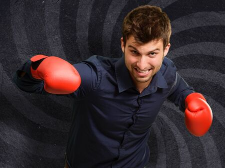 handglove: Portrait Of A Man In Red Boxing Glove,  Background