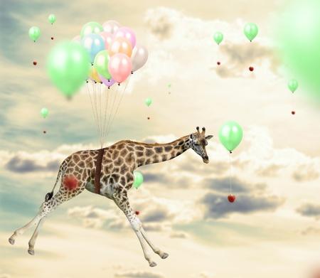 Ingenious giraffe flying using balloons to reach an apple Standard-Bild