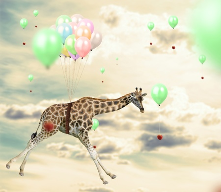 Ingenious giraffe flying using balloons to reach an apple Imagens
