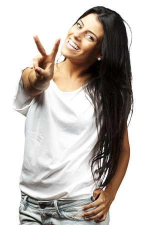 Happy Young Woman Showing Victory Sign On White Background
