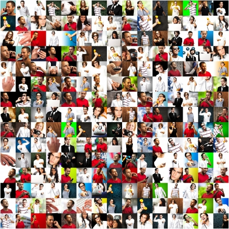 Collection Of Different People Using Different Technology On Background Stock Photo
