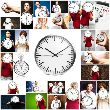 Portrait Of A People Holding Clock On Various Background Stock Photo - 14690024