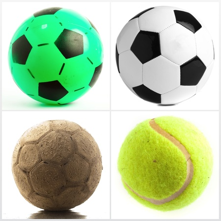 Set Of Different Balls Isolated On White Background photo