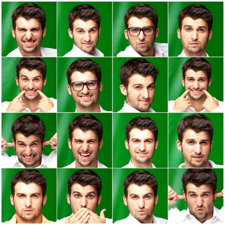 unexpectedness: Series Of Expressive Young Man Isolated On Green Background