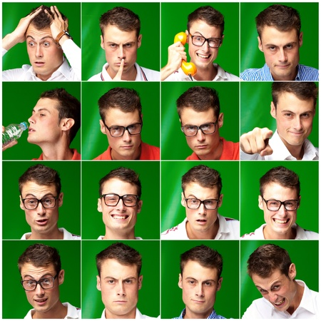 Series Of Expressive Man On Green Background Stock Photo - 14683283