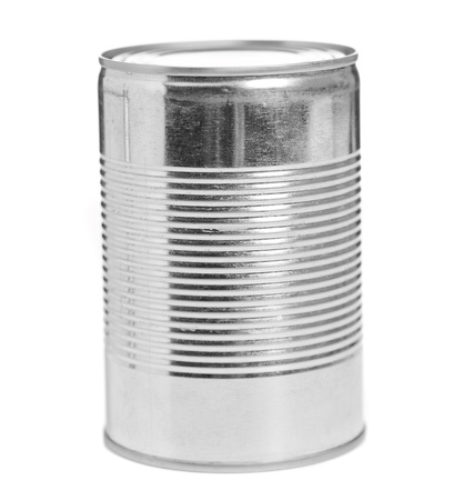 cold storage: Food Tin Can On White Background