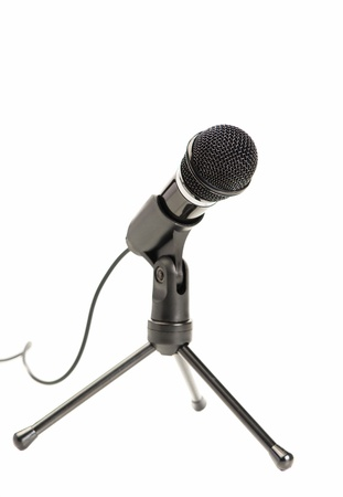 Portrait Of Microphone On White Background photo