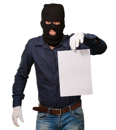 Burglar In Face Mask On White Background photo