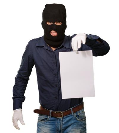 Burglar In Face Mask On White Background Standard-Bild