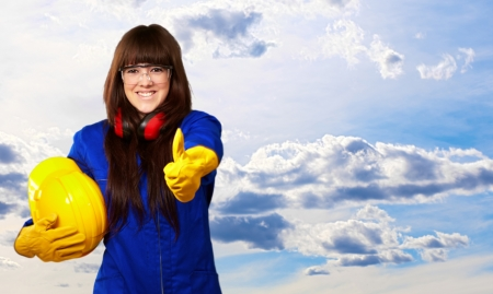 handglove: Portrait Of A Young Female Worker, Outdoor