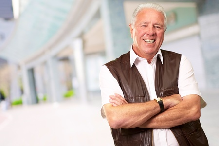Senior Man Standing With Arms Crossed, Outdoor Stock Photo - 14826150