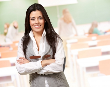 portrait of a happy girl smiling at classroom Stock Photo - 14826192