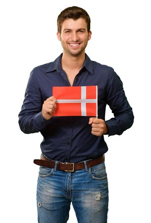 studio b: Potrait of a young man holding flag on white background