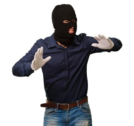 handglove: Burglar In Face Mask Isolated On White Background
