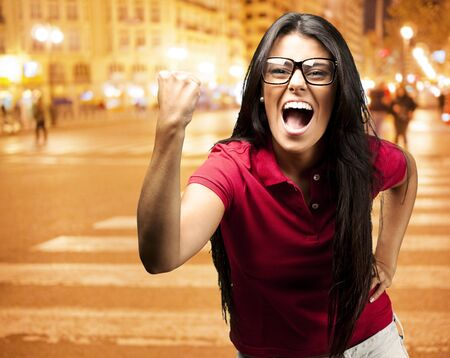 young successful young girl against a city night background Stock Photo - 15856478