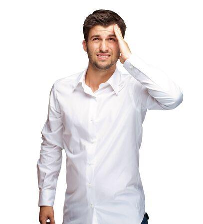 homme triste: Portrait d'un homme malheureux Sur Fond Blanc