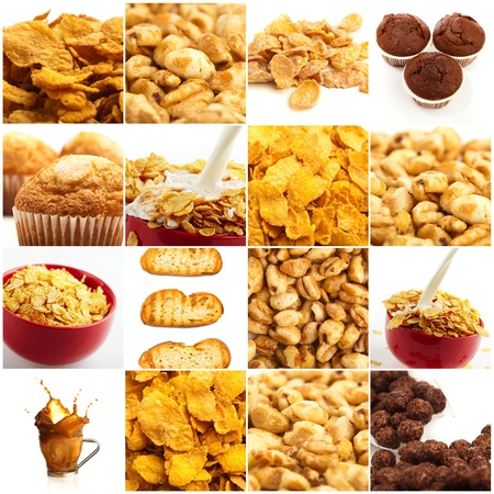 cornflakes: Set Of Breakfast Food On White Background