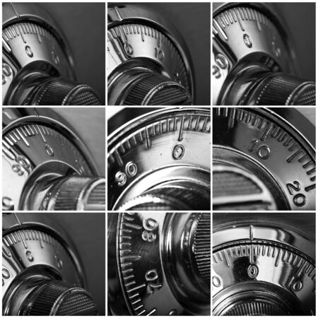combination lock: Set Of Combination Lock Isolated On Background Stock Photo