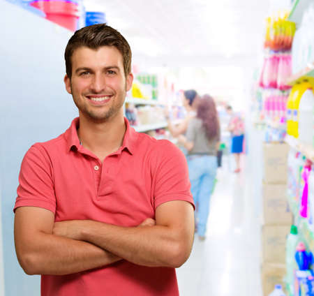 Happy Man In Supermarket, Indoors Stock Photo - 15857266