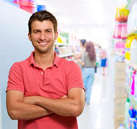 Happy Man In Supermarket, Indoors Stock Photo - 15857266