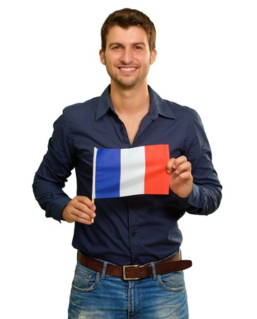 A Young Man Holding A Flag Of France On White Background Standard-Bild