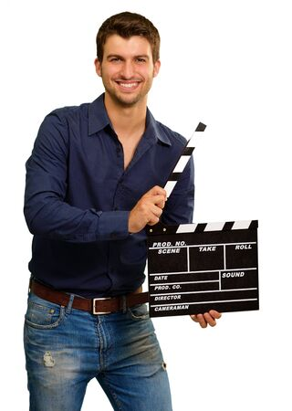 A Young Man Holding A Clapboard On White Background Stock Photo - 15856491