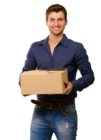 carrying box: A Young Man Holding Cardboard Box On White Background
