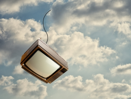 old fashioned tv: Old Television Falling Down From Sky, Outdoors Stock Photo