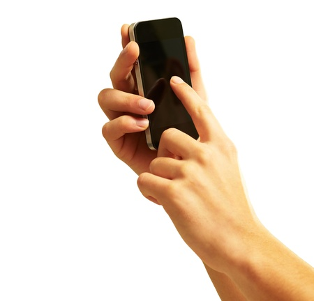 telecommunicate: Hand Touch Mobile On White Background
