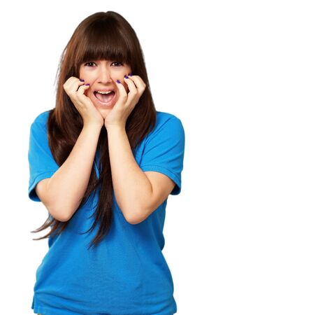 young woman screaming isolated on white background Stock Photo - 15851210