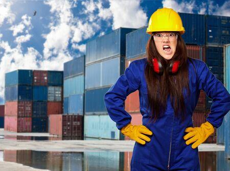 handglove: Woman Worker With Helmet, Outdoor