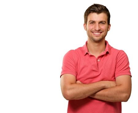 uomo felice: Casual Uomo con le braccia incrociate isolato su sfondo bianco Archivio Fotografico