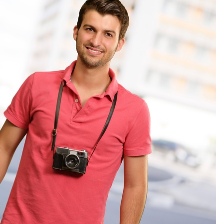 Portrait of a man wearing camera, outdoor Stock Photo - 16039591