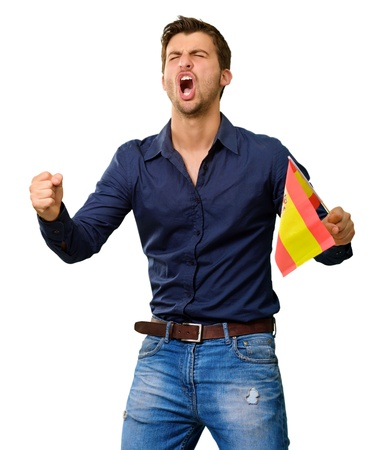 Man cheering and holding flag on white background photo