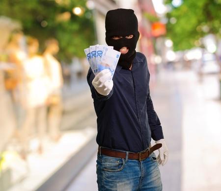handglove: Burglar In Face Mask, Outdoor