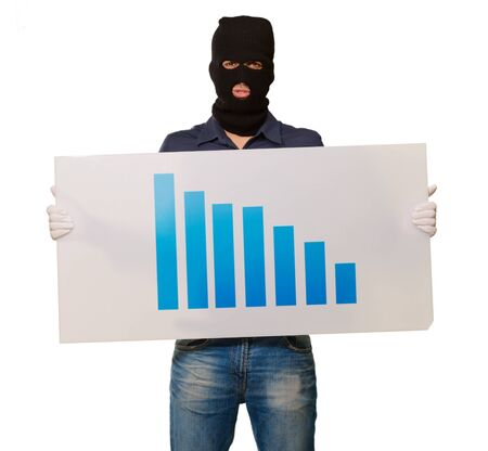 housebreaker: Man wearing mask holding a graph card isolated on white background