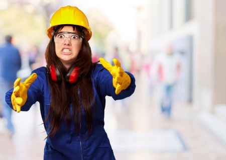 outraged: Portrait Of A Frustrated Female Worker, Outdoor