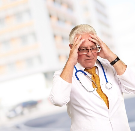 Portrait Of A Senior Doctor, Outdoor photo