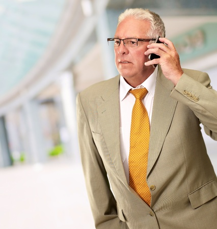 Senior Man Talking On Phone, Outdoor Stock Photo - 16039442