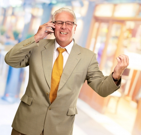 Senior Business Man Talking On Phone, Outdoor Stock Photo - 16039460