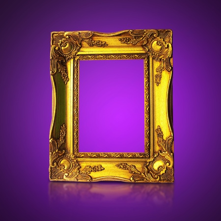 Golden Art Frame On Purple Background photo