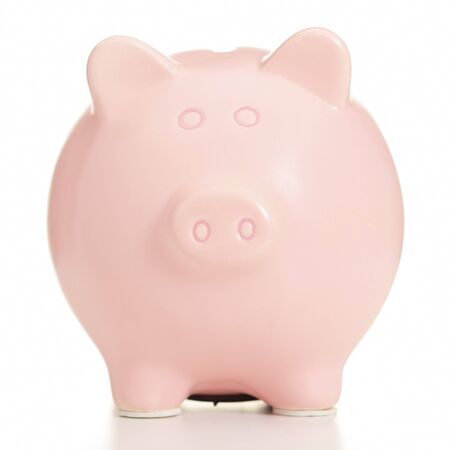 Pink Piggy Bank On White Background photo