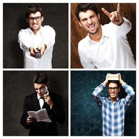Portrait Of Four Young Men On Colourful Background Stock Photo
