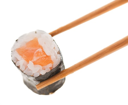 Holding Roll With Chopsticks On White Background photo