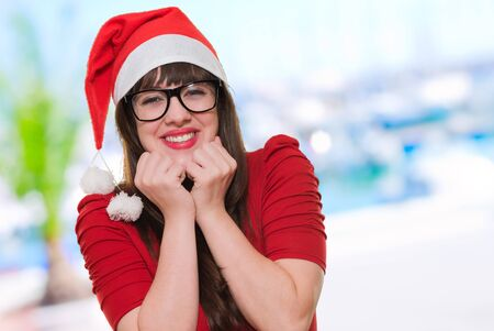 excited christmas woman wearing glasses, outdoor Stock Photo - 16290537