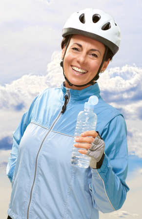 Portrait Of Cyclist Middle Aged Woman, Outdoor photo